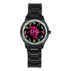 Virgo Floating Zodiac Sign Stainless Steel Round Watches