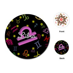 Libra Floating Zodiac Name Playing Cards (Round)