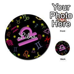 Libra Floating Zodiac Name Multi Purpose Cards (round)