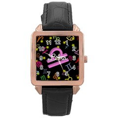 Libra Floating Zodiac Name Rose Gold Watches