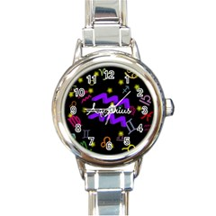 Aquarius Floating Zodiac Name Round Italian Charm Watches