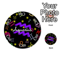 Aquarius Floating Zodiac Name Playing Cards 54 (Round)
