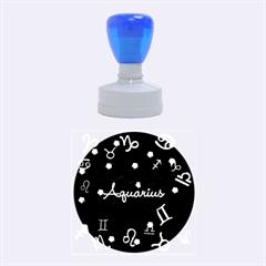 Aquarius Floating Zodiac Name Rubber Round Stamps (Medium)