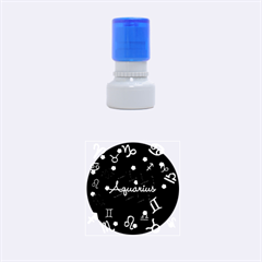 Aquarius Floating Zodiac Name Rubber Round Stamps (Small)