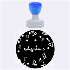Aquarius Floating Zodiac Name Rubber Round Stamps (Large)