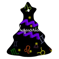 Aquarius Floating Zodiac Name Christmas Tree Ornament (2 Sides)