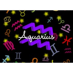 Aquarius Floating Zodiac Name Birthday Cake 3D Greeting Card (7x5)