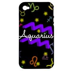 Aquarius Floating Zodiac Name Apple iPhone 4/4S Hardshell Case (PC+Silicone)