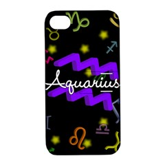 Aquarius Floating Zodiac Name Apple iPhone 4/4S Hardshell Case with Stand