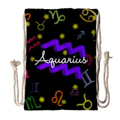 Aquarius Floating Zodiac Name Drawstring Bag (Large)