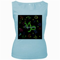 Capricorn Floating Zodiac Name Women s Baby Blue Tank Tops