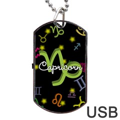 Capricorn Floating Zodiac Name Dog Tag USB Flash (One Side)