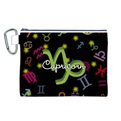 Capricorn Floating Zodiac Name Canvas Cosmetic Bag (L)