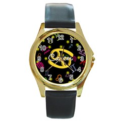 Cancer Floating Zodiac Name Round Gold Metal Watches