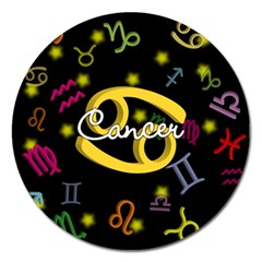 Cancer Floating Zodiac Name Magnet 5  (Round)