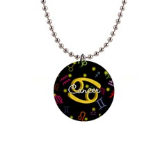 Cancer Floating Zodiac Name Button Necklaces