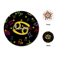 Cancer Floating Zodiac Name Playing Cards (Round)
