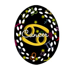 Cancer Floating Zodiac Name Oval Filigree Ornament (2-Side)