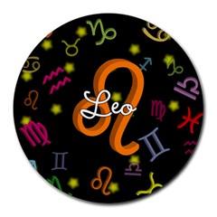 Leo Floating Zodiac Name Round Mousepads
