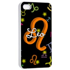 Leo Floating Zodiac Name Apple iPhone 4/4s Seamless Case (White)