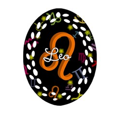 Leo Floating Zodiac Name Oval Filigree Ornament (2 Side)
