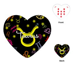 Taurus Floating Zodiac Name Playing Cards (heart)