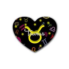 Taurus Floating Zodiac Name Heart Coaster (4 pack)