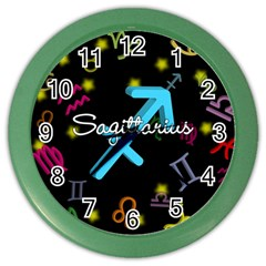 Sagittarius Floating Zodiac Name Color Wall Clocks