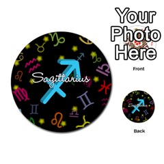 Sagittarius Floating Zodiac Name Multi-purpose Cards (Round)