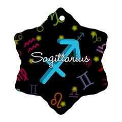Sagittarius Floating Zodiac Name Snowflake Ornament (2-Side)