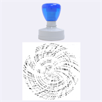 Happy Aqua Rubber Round Stamps (Large) 1.875 x1.875  Stamp