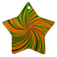 Happy Green Orange Star Ornament (Two Sides)