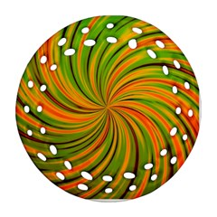 Happy Green Orange Round Filigree Ornament (2side)