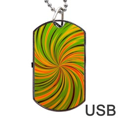 Happy Green Orange Dog Tag Usb Flash (one Side)