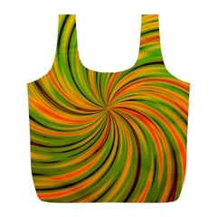Happy Green Orange Full Print Recycle Bags (L)