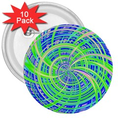 Happy Green 3  Buttons (10 pack)