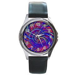 Happy Red Blue Round Metal Watches