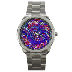 Happy Red Blue Sport Metal Watches