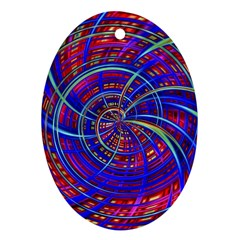 Happy Red Blue Oval Ornament (Two Sides)