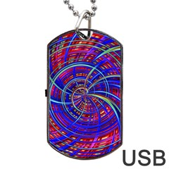 Happy Red Blue Dog Tag Usb Flash (two Sides)