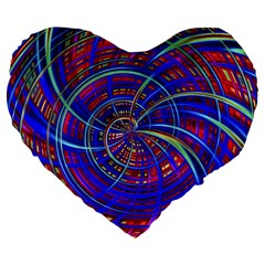 Happy Red Blue Large 19  Premium Heart Shape Cushions