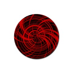 Happy, Black Red Rubber Round Coaster (4 pack)
