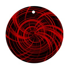 Happy, Black Red Round Ornament (Two Sides)