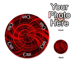 Happy, Black Red Playing Cards 54 (round)