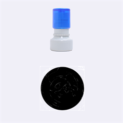 Happy, Black Red Rubber Round Stamps (Small)