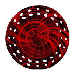 Happy, Black Red Ornament (Round Filigree)
