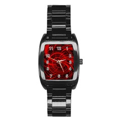 Happy, Black Red Stainless Steel Barrel Watch