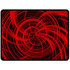 Happy, Black Red Double Sided Fleece Blanket (Large)