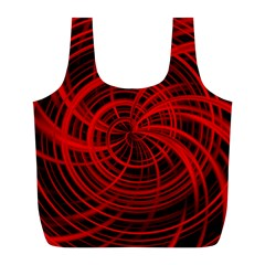Happy, Black Red Full Print Recycle Bags (l)