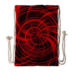 Happy, Black Red Drawstring Bag (Large)